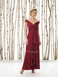 Burgundy Elastic Woven Satin/Chiffon Off-the-shoulder Ruffle Column Ankle-length Mother of the Bride Dress