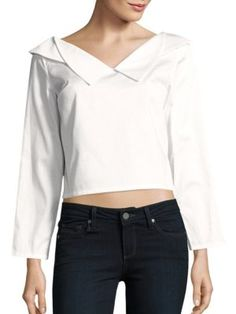OPENING CEREMONY Sateen Off-The-Shoulder Crop Top. #openingceremony #cloth #top
