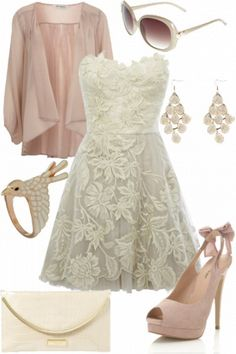 Lace is another style I love! Lace knee length dress, sweetheart top with light beige/ivory pumps and ivory/gold accessories. ~ Perfect for the wedding rehearsal! #SamAndShel2015