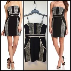 Max and Cleo Hailey Black Strapless Dress Great for wedding season! Fun twist on the LBD! Black and white with clear sequins. Lightweight crepe. Max & Cleo Dresses Strapless
