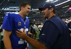 Injured Dallas Cowboys quarterback Tony Romo congratulates Eli Manning #10 of the New York Giants after the Giants defeat of the Cowboys at AT&T Stadium on Sept. 11, 2016 in Arlington, Texas.