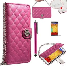 Note 3 Case, Galaxy Note 3 Wallet Case - ULAK Galaxy Note 3 Luxury Fashion Handbag Metal Chain Style PU Leather Wallet Case Folio Cover Credit Card Slot Holder for Samsung Galaxy Note III Note 3 N9000 W/ Screen Protector/Touch Stylus (Rose Red w/Luxury Bling Button) ULAK http://www.amazon.com/dp/B00HN2DS2A/ref=cm_sw_r_pi_dp_uDGkub1M002FB