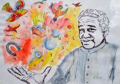 Una idea, mucho arte Gabriel García Márquez  Acuarela y tinta sobre papel. 30x20 cm. Autora  Antonia Gómez Sousa.