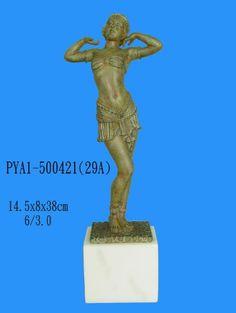 "Sculpture: Art Deco Antique Style Woman Dancing Statue Sculpture Figurine With Marble Base 15.5""""H"