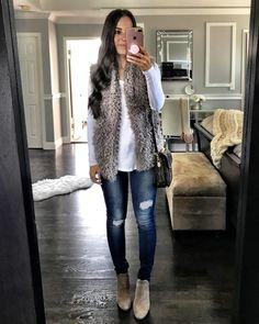 Fall denim outfit | Faux fur vest