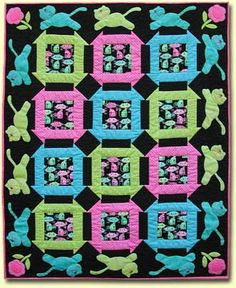 """Churning Kitties Quilt, 48 x 60"""", pattern by Cleo and Me Designs"""