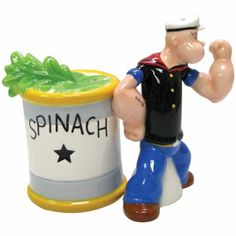 """""""Popeyes And Spinach"""" Salt and Pepper Shaker Set by Westland Giftware"""