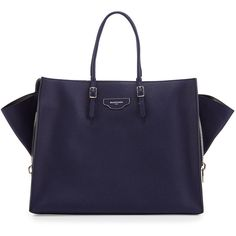 Balenciaga Papier Large Zip-Around Tote Bag ($2,385) ❤ liked on Polyvore featuring bags, handbags, tote bags, blue, leather handbags, leather tote bags, zip top tote bag, genuine leather handbags and blue handbags