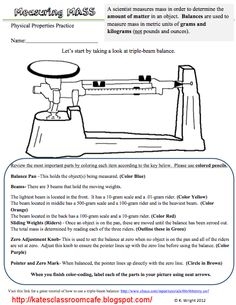 Triple Beam Balance Worksheet Problems Science Classroom Cafe Measuring Mass Worksheet and Flipchart Freebie Science Process Skills, Science Tools, Science Worksheets, Physical Science, Science Lessons, Science Education, Teaching Science, Science Activities, Life Science