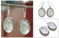 Moonstone Earrings Artisan Crafted in Sterling Silver - Misty Moon | NOVICA