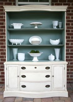 Most Beautiful Antique China Cabinet Makeover Ideas China Cabinet Redo, Antique China Cabinets, Painted China Cabinets, White Buffet Cabinet, Repurposed China Cabinet, Painted Hutch, Refurbished Furniture, Repurposed Furniture, Furniture Makeover