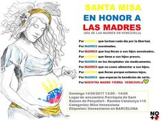 El próximo Domingo 14 de Mayo se celebra el DÍA DE LAS MADRES  Levantemos nuestras energías y oraciones por todas esas MADRES las que ya no están las que lloran por haber perdido a sus hijos por las que tienen a sus hijos presos enfermos. Por esas Madres que la distancia nos separó. Por Nuestra Madre Tierra #venezuela #diadelamadre #venezolanosenbarcelona #madres #sosvenezuela #venezuelalucha #barcelona #españa #venezolanosenelmundo #pornuestrasmadres #misaporloscaidos
