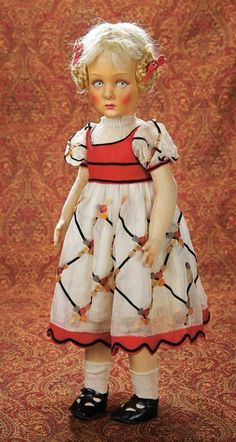 Home At Last - Antique Doll and Dollhouses: 328 Large Italian Felt Child Doll with Original Costume by Lenci