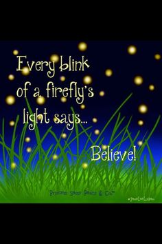 "Every blink of fireflies says, ""Believe"".                                                                                                                                                     More"