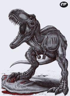 Tyrannosaurus-Rex claiming his prey by APPaleoart on Etsy