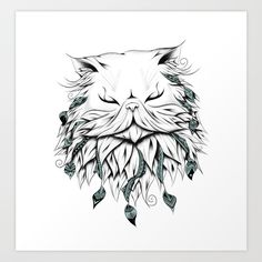 Buy Poetic Persian Cat Art Print by loujah. Worldwide shipping available at Society6.com. Just one of millions of high quality products available.  #art #society6 #loujah #boho #animal #illustration #draw #nordic #pet #cute