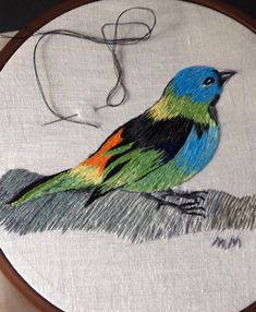 Embroidered Bird Loom Bird Embroidery Little Birds Crafts Tutorials Cushions Frames Embroidery Ideas Hand Embroidery Design Patterns, Embroidery Flowers Pattern, Needlepoint Patterns, Hand Embroidery Stitches, Cross Stitch Embroidery, Cushion Embroidery, Crewel Embroidery, Embroidered Bird, Couture