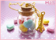 Kawaii Necklace  Sweet  heart shaped macaroons by SweetDollyHouse