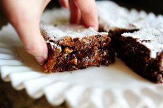 Pioneer Woman's Knock You Naked Brownies!  Uses German Chocolate cake mix, evaporated canned milk, butter, caramels, pecans, and semi-sweet chocolate chips.  Easy!