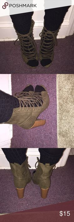 Open toe booties Army green lace up booties lola shoetique Shoes Lace Up Boots
