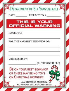 A Cute Christmas Elf Warning Letter and/or a Personalized Letter From Santa for the little ones in your life! (scheduled via http://www.tailwindapp.com?ref=scheduled_pin&post=230951)