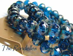 Czech glass beads Capri Blue whit Picasso Rondell by CzechLaVie, $5.50