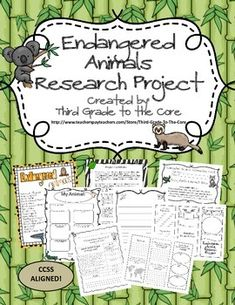 Endangered Animal Research Writing Project - Common Core Aligned from Third… Third Grade Writing, Third Grade Science, 3rd Grade Reading, Teaching Science, Science Activities, Science Projects, Science Topics, Animal Activities, Writing Activities