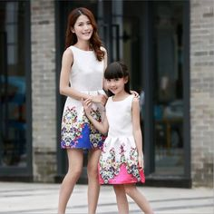 New Mother Daughter Dresses Fashion Sleeveless Dress Striped Girls Long Dress Family Matching Outfits