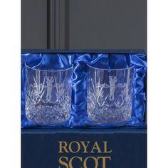 Highland Box of 2 Large Tumbler engraved Golfer (Presentation Boxed)