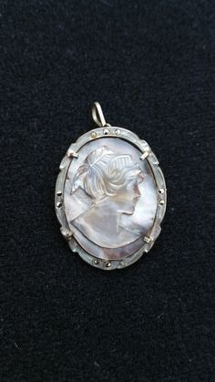 Bari cameo Victorian 800 silver Mother of pearl cameo brooch on 800 silver with pin and pendant attachment and earrings set by SteamyAntiquities on Etsy