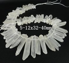 16inches&Approx 50pcs strand of AA grade quality raw crystal graduated point pendants ,rock crystal quartz top drilled beads 5-12X32-40mm
