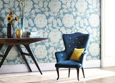 Buy Harlequin Wallpaper in Australia. Our removable, non-woven Harlequin Wallpaper styles range from contemporary, elegant, modern to classic. Painting Wallpaper, Print Wallpaper, Feature Wallpaper, Modern Floral Wallpaper, Harlequin Wallpaper, Harlequin Fabrics, Blue Armchair, Wallpaper Online, Home Upgrades