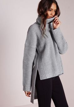 Cut Out Sleeve Slouch Knitted Crop Grey - Knitwear - Jumpers - Missguided