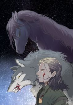 The beast that serves Odin and the beast that will devour the All father at Ragnarok, with their creator Loki the Doer of Good and the Doer of Evil.