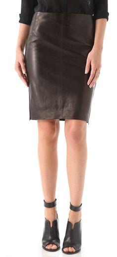 Diane Von Furstenberg - Clover Leather Pencil Skirt #DVF #skirts