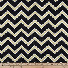 Black & Gold Chevron Apparel Fabric