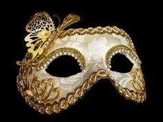 Luxury Butterfly Venetian Masquerade Mask - Gold Velvet