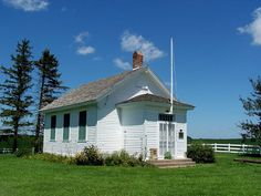 """One-room schoolhouse where Grant Wood (painter of famous """"American Gothic"""") went to school as a young Iowa farmboy. Rural Anamosa, Iowa."""