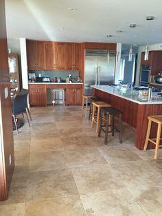 cafe light 24x24 travertine tile kitchen floor remodel beige colored travertine in large squares
