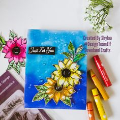 Sharing card made with just for you stamps from Use at checkout to get discount. Craft Online, Flower Stamp, Paper Artist, Card Maker, Distress Ink, Stamp Collecting, Water Crafts, Hello Everyone, Colouring