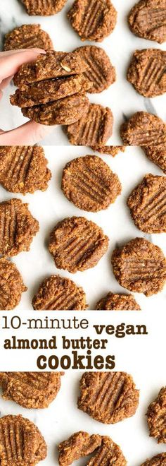 10-minute Vegan Almond Butter Cookies! The easiest vegan cookies ready in just minutes. Made with dates, oatmeal and such deliciously healthy ingredients!