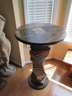 Handmade Upcycled Book Table side table, this would be fun to make for a sitting room or nursery (upcycling furniture) Repurposed Furniture, Painted Furniture, Diy Furniture, Garden Furniture, Bedroom Furniture, Furniture Projects, Bedroom Table, Furniture Removal, Furniture Stores