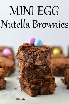 Chewy and rich, these brownies make a great dessert idea for Easter or anytime mini eggs are in season! Great Desserts, Holiday Desserts, Dessert Recipes, Egg Recipes, Dessert Ideas, Cake Recipes, Nutella Brownies, Brownie Bar, Brownie Bites