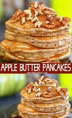 Apple Butter Pancakes are an easy fall breakfast recipe. Loaded with sweet cinn Apple Butter Pancakes are an easy fall breakfast recipe. Loaded with sweet cinnamon apple butter. These are the perfect way to start the day. Source by twocametrue Breakfast And Brunch, Breakfast Pancakes, Breakfast Dishes, Apple Breakfast, Autumn Breakfast Recipes, Breakfast Ideas, Apple Recipes, Fall Recipes, Pancake Healthy