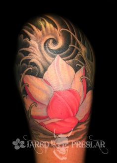 Jared Preslar - Flowing Lotus Flower Tattoo. This is a great tattoo for the palms. Just the lotus.