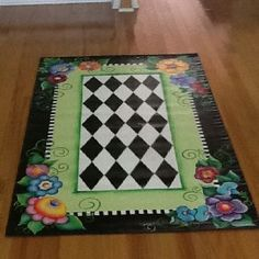 Fabulous hand painted floor cloth I'm sure inspired my Mary's illustrations. No link or how to unfortunately. Painted Floor Cloths, Painted Rug, Painted Chairs, Hand Painted Furniture, Painted Floors, Tole Painting, Painting On Wood, Floor Painting, Decoration