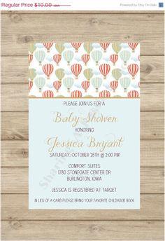 Hot Air Balloon Baby Shower Invitation  Hot by SharingAPassionINC, $7.50