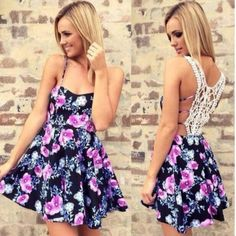 Buy Fashion sexy lace stitching printed harness dress at Wish - Shopping Made Fun Club Dresses, Casual Dresses, Short Dresses, Sleeveless Dresses, Dresses Dresses, 2015 Dresses, Floral Dresses, Cheap Dresses, Elegant Dresses