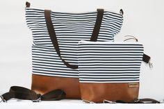 Wickeltasche, Kinderwagentasche, Bowleanies, handmade, Tasche, Leder, Nähen, Maritim, Dunkelblau-Weiß-Gestreift