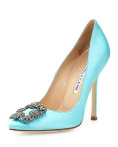 "Manolo Blahnik Hangisi Satin Crystal-Toe Pump, Turquoise  Manolo Blahnik satin pump. 4 1/2"" covered stiletto heel. Pointed toe with crystal buckle. Padded leather footbed. Leather lining and sole. ""Hangisi"" is made in Italy."